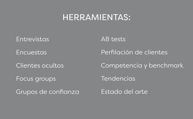 Herramientas: entrevisas,eneucentas,clientes ocultos,focus groups, grupos de confianza, ABtests, perfilación de clientes, competenci y benchmark, tendencias y estado del arte.